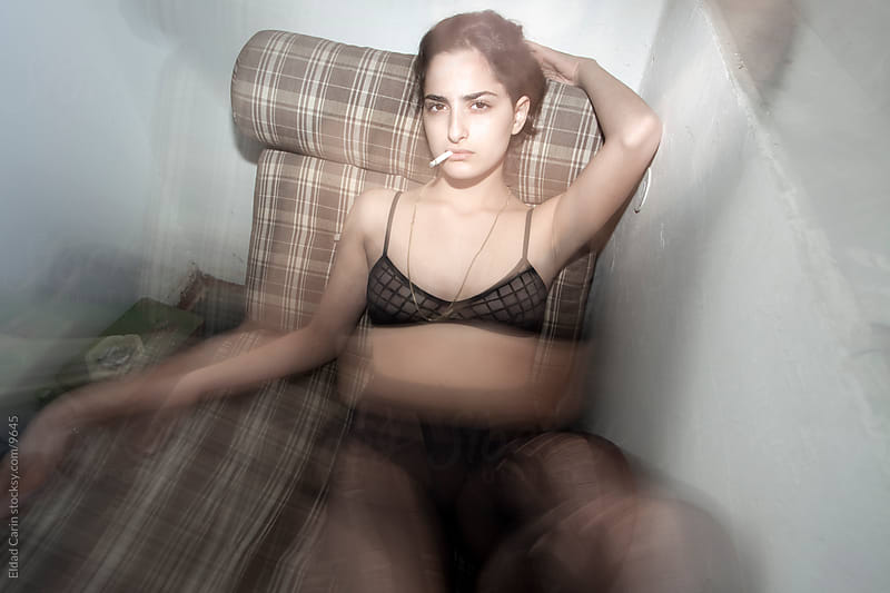 Smoking Grunge Lingerie Rock Girl by Eldad Carin for Stocksy United