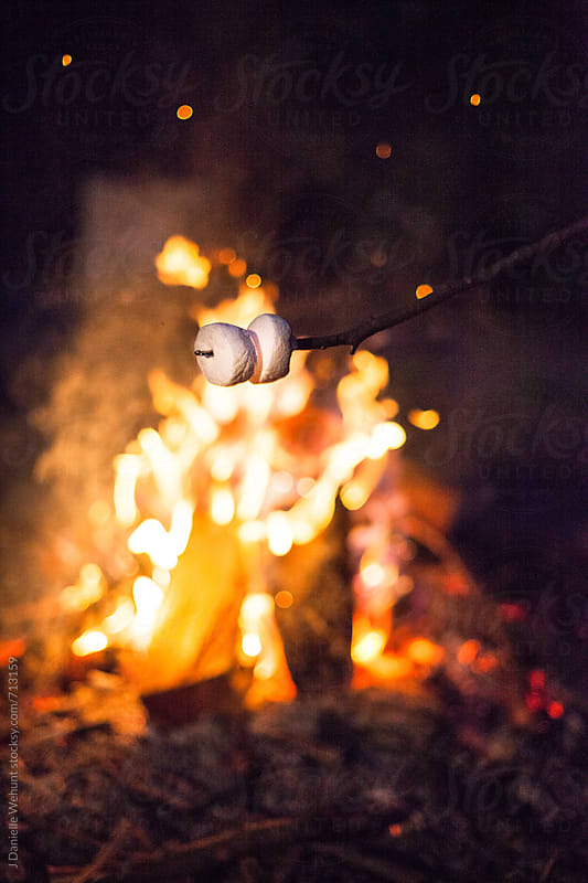 Marshmallows roasting over an open fire by J Danielle Wehunt for Stocksy United