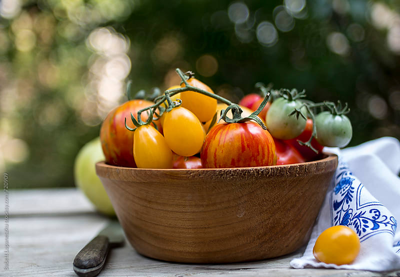 Different varieties of tomatoes in wooden bowl by Babett Lupaneszku for Stocksy United