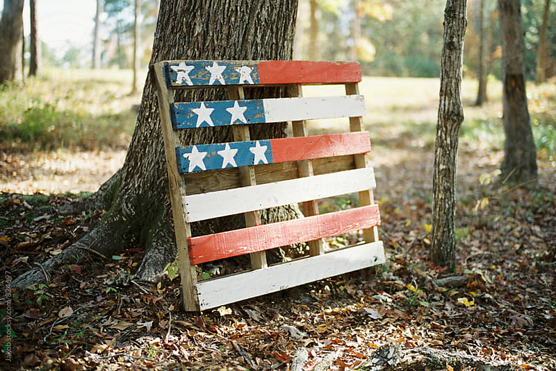 A pallet painted as the american flag leaning against a tree by Jakob for Stocksy United