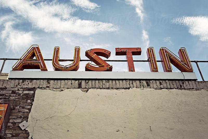 vintage Austin sign by Tod Kapke for Stocksy United