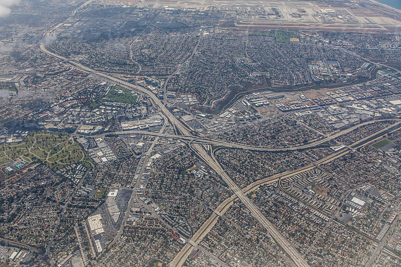 Aerial view of Los Angeles by Maximilian Guy McNair MacEwan for Stocksy United