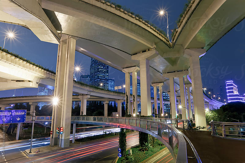 Road bridges in Central Shanghai, Shanghai, China by Gavin Hellier for Stocksy United