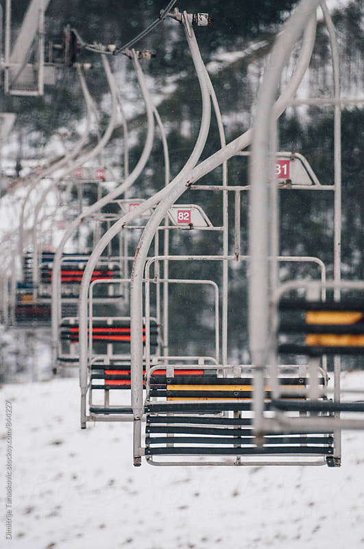 Old ski lift during the winter by Dimitrije Tanaskovic for Stocksy United