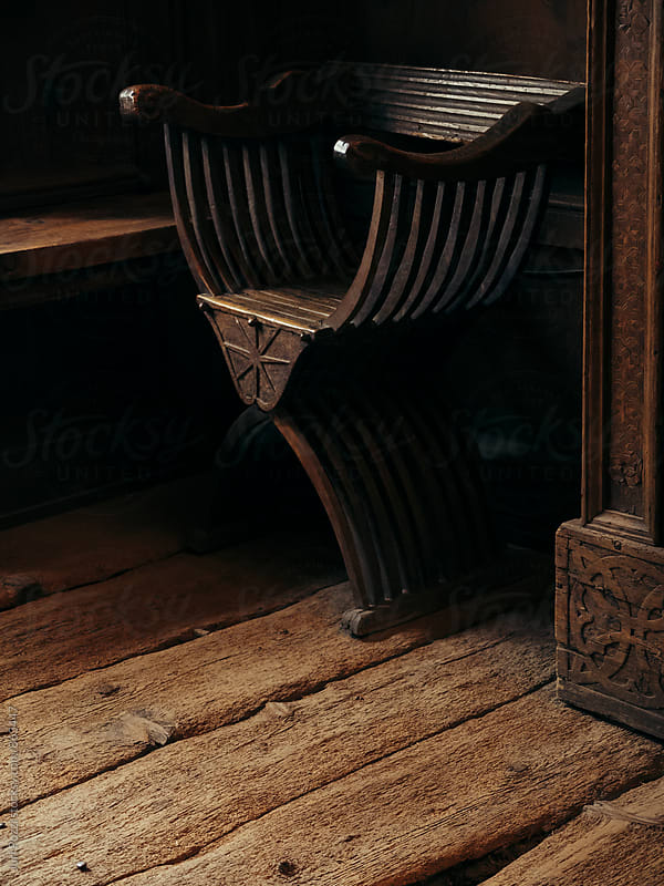 antique chair in a wooden room  by Juri Pozzi for Stocksy United
