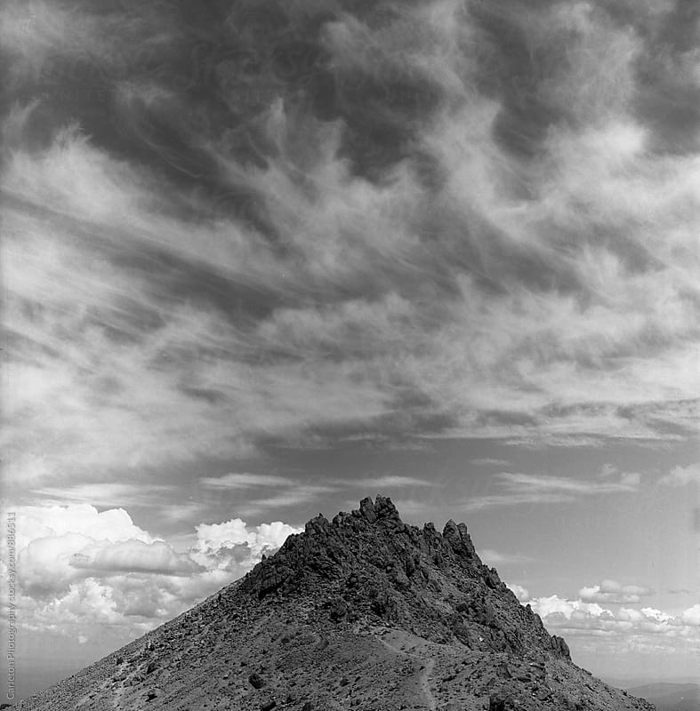 Black and white photo of Mount Lassen in Northern California by Carleton Photography for Stocksy United