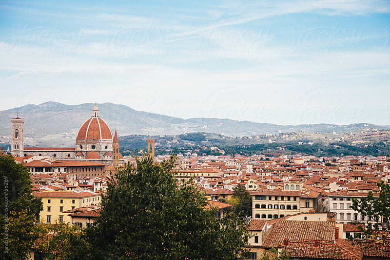 Looking down on Florence in Autumn by Sarah Lalone for Stocksy United