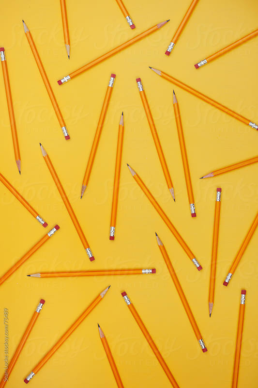 Pencils: Pattern of Pencils from Overhead by Sean Locke for Stocksy United