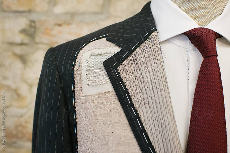 Men's Fashion - Close Up of Expensive Blue Pinstripe Suit in the Making by Julien L. Balmer for Stocksy United