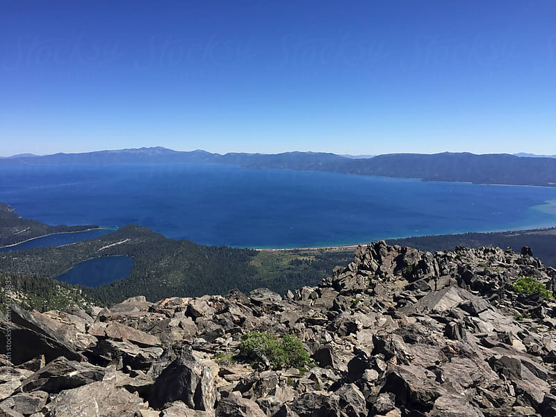 View of Lake Tahoe from Mt. Tallac, Desolation Wilderness, CA by Paul Edmondson for Stocksy United
