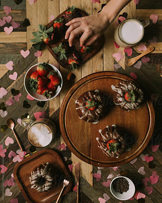Valentine's Day Bundt Cake Desert by Rachel Gulotta Photography for Stocksy United