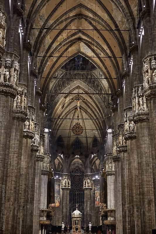 Duomo of Milano, Gothic cathedral. Inside by Martí Sans for Stocksy United