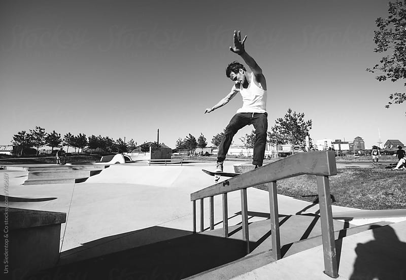Skateboard rail grind by Urs Siedentop & Co for Stocksy United