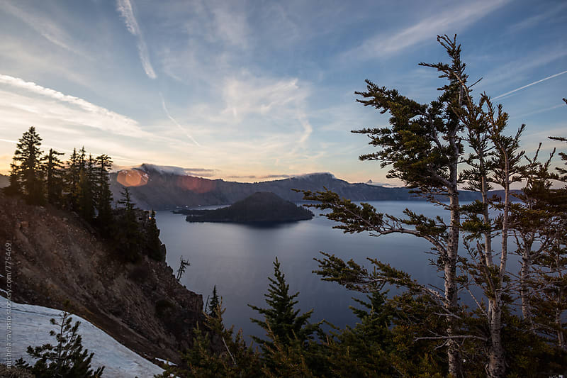 View of Crater Lake at sunset by michela ravasio for Stocksy United
