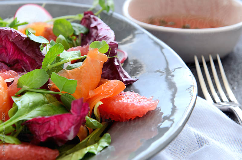 Close up on healthy salad  by Jill Chen for Stocksy United