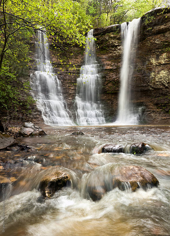 Triple Falls Waterfalls in the Arkansas Ozark Mountains by Brandon Alms for Stocksy United