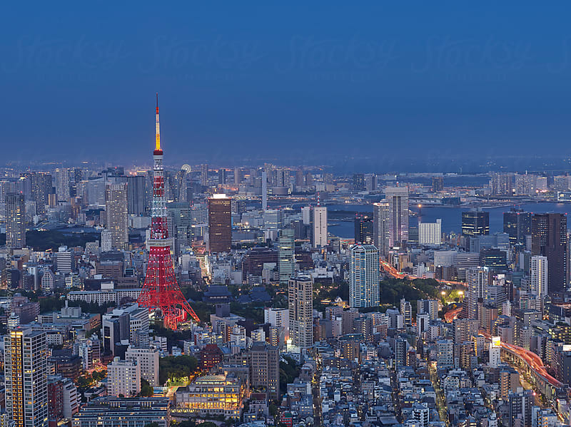 Tokyo Tower and Tokyo Panorama by Fotografie Daniel Osterkamp for Stocksy United