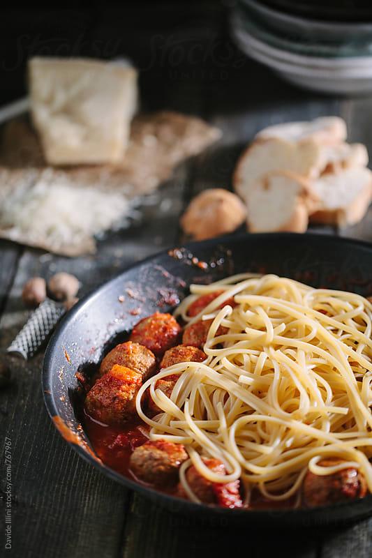Spaghetti with meatballs by Davide Illini for Stocksy United