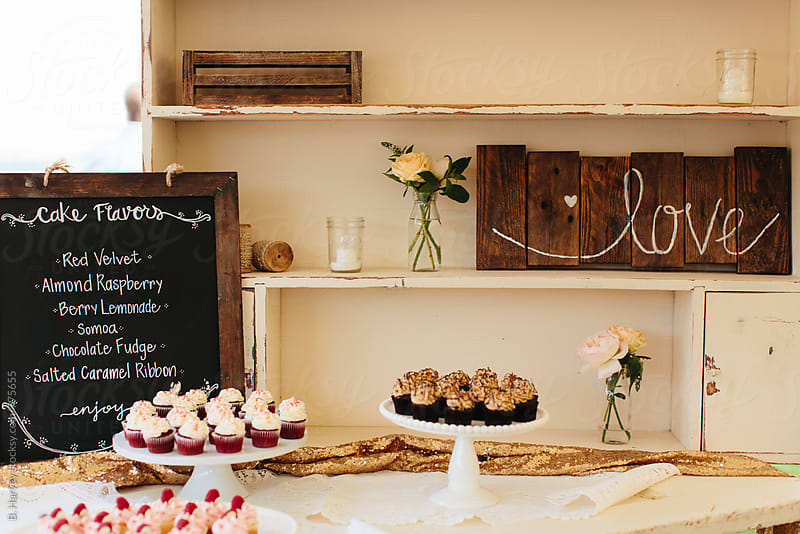 Cupcake Menu and Cupcakes at an Event by B. Harvey for Stocksy United