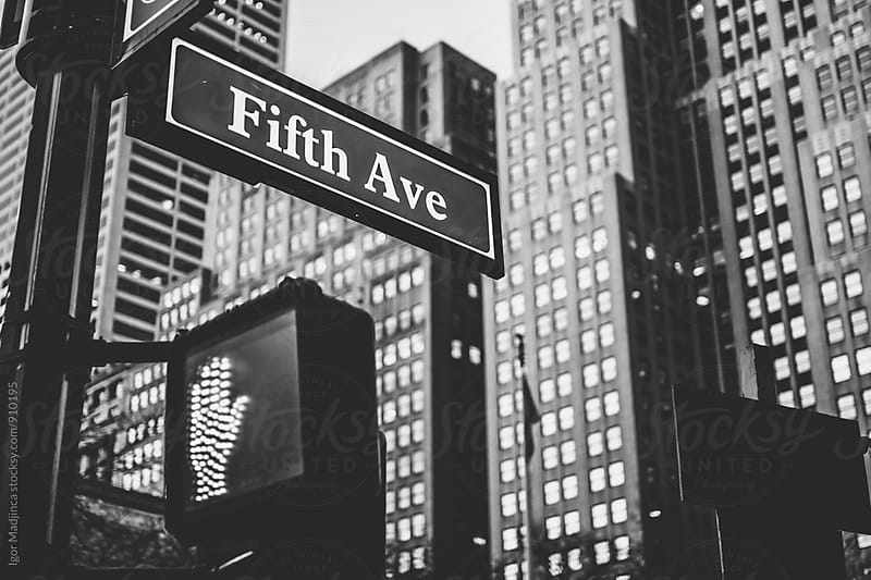 NY Street detail, Fifth Avenue, traffic, buildings,stop by Igor Madjinca for Stocksy United