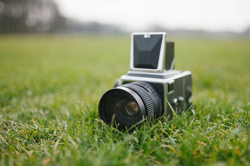 Old camera in grass by Zocky for Stocksy United