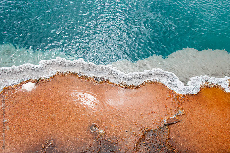 Red bacteria and aqua hot spring