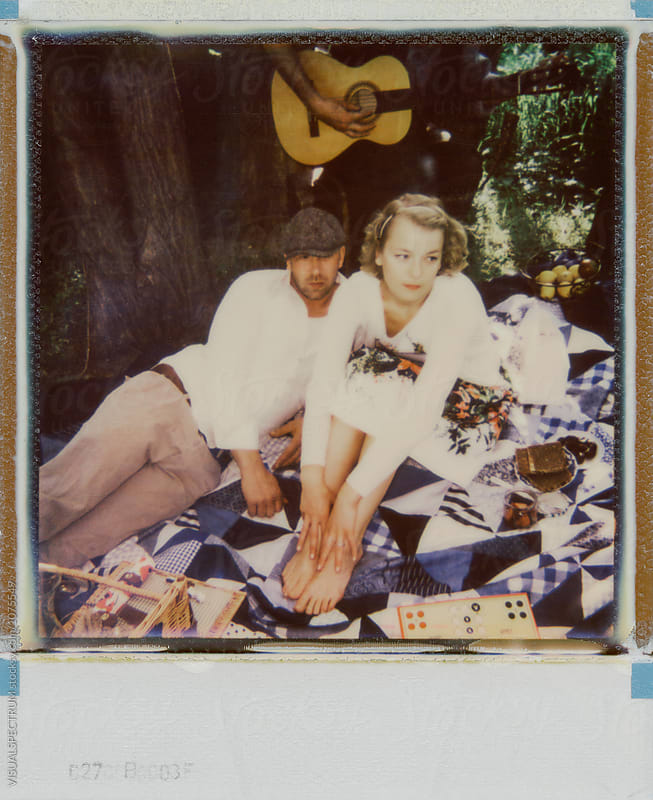 Polaroid of Caucasian Couple on Romantic Spring Outing by Julien L. Balmer for Stocksy United