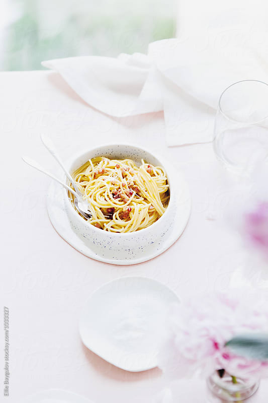 Spaghetti carbonara by Ellie Baygulov for Stocksy United
