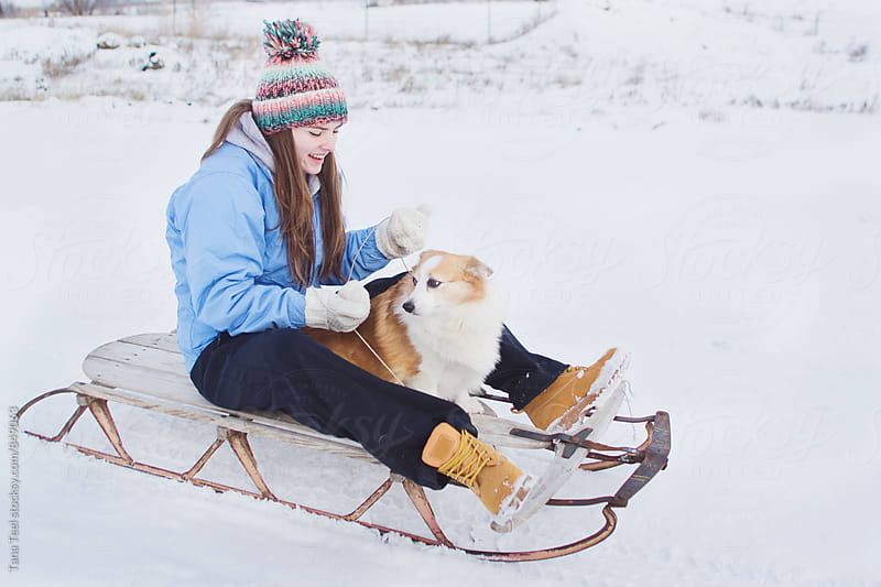 young woman sleds down hill with dog by Tana Teel for Stocksy United
