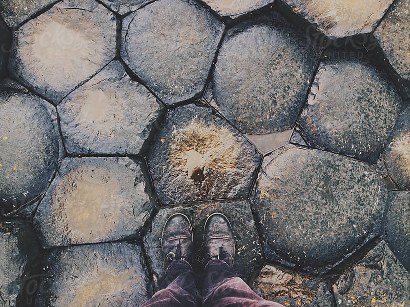 Feet on  Hexagonal Jigsaw Puzzle . Giant's Causeway United Kingdom by HEX. for Stocksy United