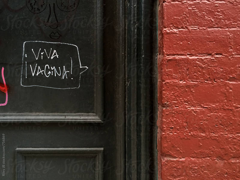 'Viva Vagina' tagged on a door next to red brick by Riley Joseph for Stocksy United