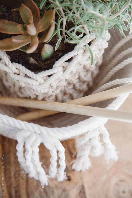 Decor handmade of rope and macrame bowl  by Carey Shaw for Stocksy United