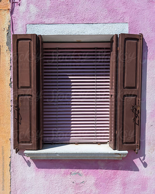 Pink Blinds, Brown Shutters by Brian Koprowski for Stocksy United