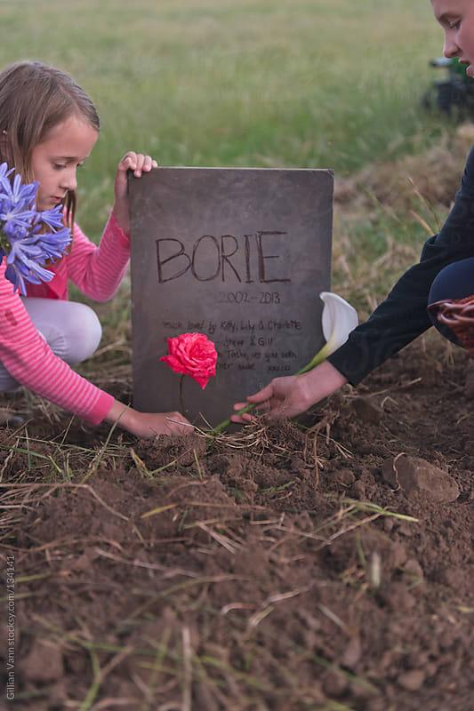 children at pet's grave by Gillian Vann for Stocksy United