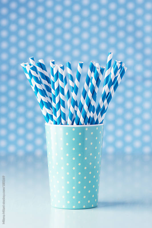 Blue paper straws  by Milena Milani for Stocksy United