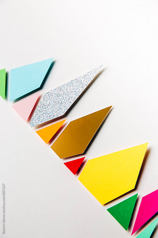 Decorative colorful shapes on white by Beatrix Boros for Stocksy United
