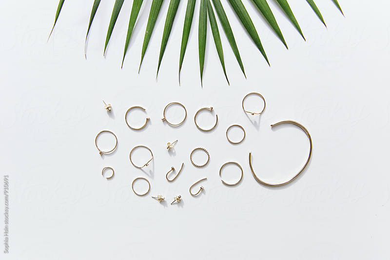 Jewelry with palm leaf by Sophia Hsin for Stocksy United