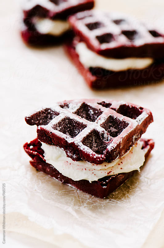 Red Velvet Cake Waffles Sandwiches On Parchement Paper by Cameron Whitman for Stocksy United