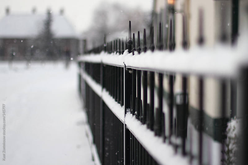 Snowed upon black castiron fence.  by Kaat Zoetekouw for Stocksy United