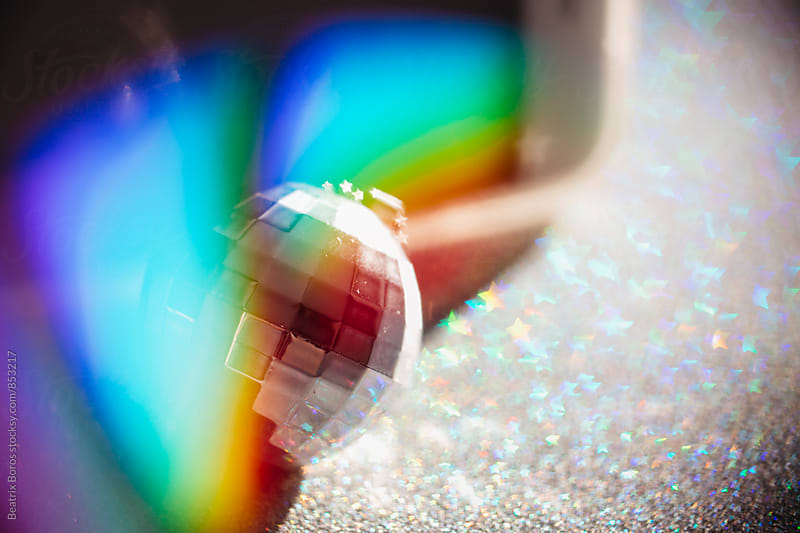 Disco ball with light reflections by Beatrix Boros for Stocksy United