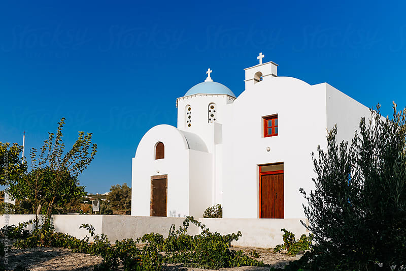 White Church on Santorini, Greek Island by Gary Radler Photography for Stocksy United