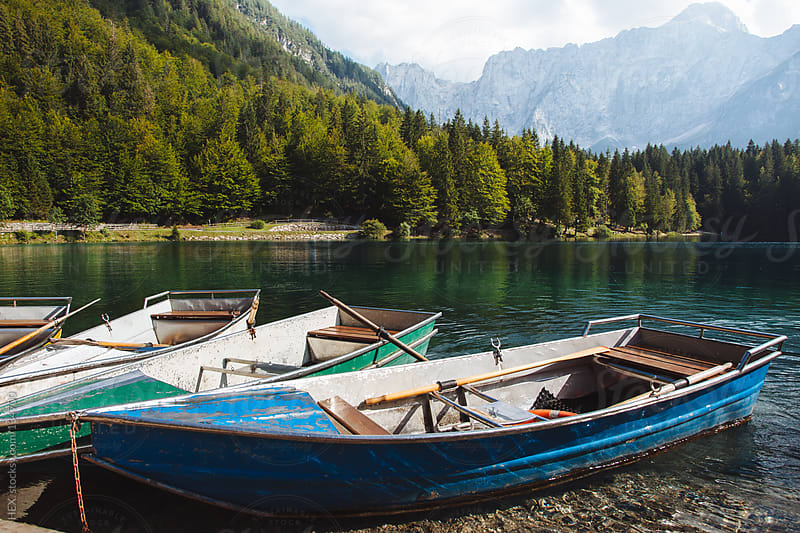 Rowboat on Fusine Lake . Italy by HEX. for Stocksy United