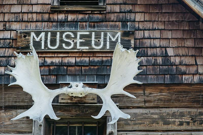 Moose antlers on an old log museum by Gabriel (Gabi) Bucataru for Stocksy United