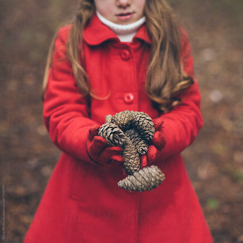 Child collecting pine cones by Dejan Ristovski for Stocksy United
