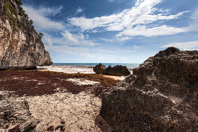 Caribbean Sea Coastline in Tulum Mexico by Brandon Alms for Stocksy United