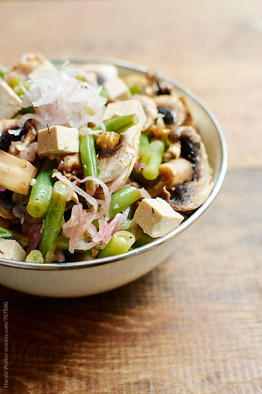 Green Bean, Walnut and Mushroom Salad  by Harald Walker for Stocksy United