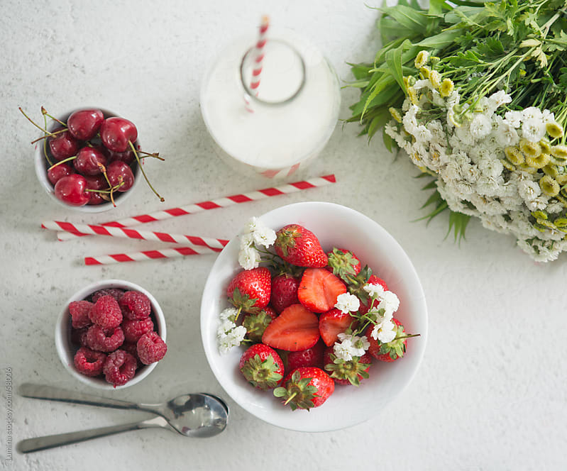 Cherries, Strawberries, Raspberries and Milk by Lumina for Stocksy United