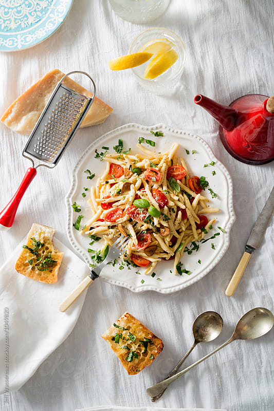 Fusilli Pasta with Roasted Grape Tomatoes by Jeff Wasserman for Stocksy United
