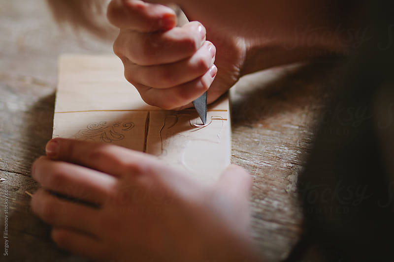 woman hands. carpenter working with wood by Sergey Filimonov for Stocksy United