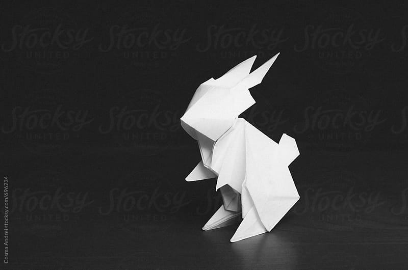 White paper rabbit origami by Cosma Andrei for Stocksy United